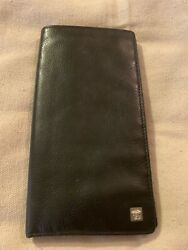 Vintage Gianni Versace Long Black Leather Wallet MADE IN ITALY $70.00