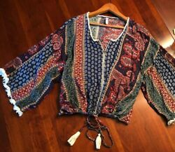 XHILARATION Boho Paisley Zip Front Top Fringed Kimono Sleeves Tassel Tie XXL 2XL $14.95