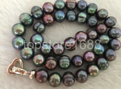 stunning AAA Natural 11 12mm Tahitian black green pearl necklace 18quot; $12.99