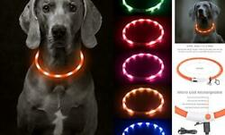 USB Rechargeable LED Dog Collar Light Up Dog Collars Glow in Orange Silicone $15.68
