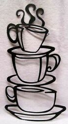 GREAT FOR YOUR KITCHEN COFFEE SHOP BLACK METAL COFFEE CUPS WALL HANGING NEW $9.99