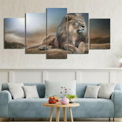 5 Panels Lion Canvas Art Oil Painting Picture Wall Hanging Room Decor $12.99