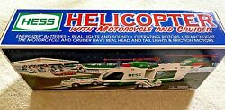 Collectible 2001 Hess Toy Helicopter with Motorcycle and Cruiser in Box $8.00