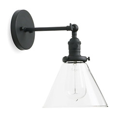 Permo Single Sconce with Funnel Flared Glass Clear Glass Shade 1 Light Wall Wall $83.96