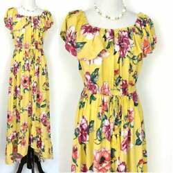 BAND OF GYPSIES MAXI BOHO YELLOW FLORAL OFF SHOULDER DRESS M ANTHROPOLOGIE NEW $44.44