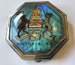 VINTAGE ANTIQUE VICTORIA BC BUTTERFLY WINGS COMPACT $55.00