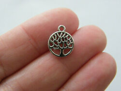 14 Tree charms antique antique silver tone T57 $3.75