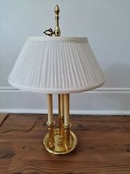 Baldwin Brass 3 candlestick Bouillotte Lamp with pleated Cloth Shade $189.00