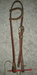 KO Trading Co Amish Leather Western Headstall Bridle Texas Star Silver Overlay $39.99