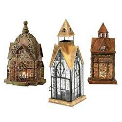 Home amp; Garden Architectural Tealight Candle Lanterns Set 3 Houses Indoor Outdoor $88.82