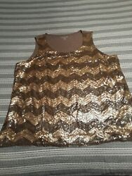 Coldwater Creek Gold Taupe Sequin Tank 2X 20 22 Plus Party Bling $11.20