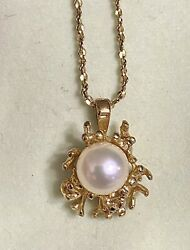 💜7mm Pearl Gold On Sterling Silver Pendant w 14k Gold Filled Chain Necklace $50.00