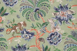 NOVELTY ANIMALS FLORAL LINENamp;COTTON PRINT MULTIPURPOSE FABRIC GREEN BTY $58.00