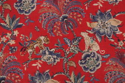 NOVELTY ANIMALS FLORAL LINENamp;COTTON PRINT MULTIPURPOSE FABRIC RED BTY $58.00