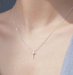 Sterling Silver 925 Extra Small Plain Cross Women#x27;s Ladies Pendant Necklace $11.99