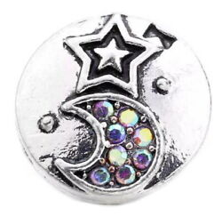 Silver Opal Rhinestone Moon Star 12mm Mini Petite Snap Charm For Ginger Snaps $6.60