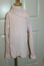 Green Dog Girls Pink Chenille Cable Knit Cozy Sweater sz. L $5.99