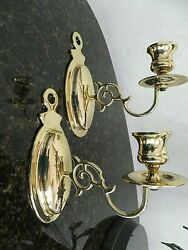 2 Baldwin Brass One Arm Wall Sconces #7441 Solid Brass Early American $29.99