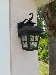 Altair LED Lantern Brushed Patina Finish Outdoor Clear Glass Water AL 2163 $55.00