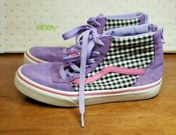 Vans Off The Wall Girls Black amp; White Check amp; Purple Zip Back Shoes Size 3Y $24.99