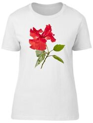 Red Hibiscus Cute Exotic Nature Women#x27;s Tee Image by Shutterstock $10.99