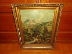 Antique Oil on Canvas Painting of a Stream Landscape Signed Ida Sweet $235.00