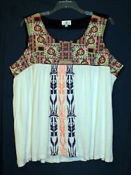 OSO Casuals 3X Plus BOHO White Multi Embroidered Sleeveless Shirt Top New $26.00