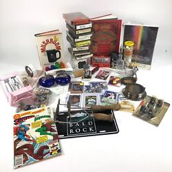 Junk Lot Vintage Collectibles Broken Jewelry Pieces Tapes Bottle Comics BB Cards $35.00