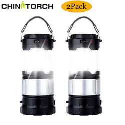 2 Pack Camping Lanterns LED Rechargeable Solar Lamps Hurricane Lights with Flash $38.89