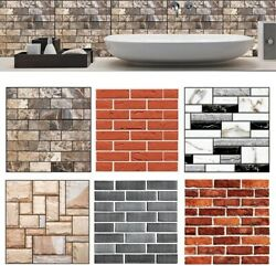 3D Kitchen Wall Tiles Bathroom Mosaic Brick Stickers Removable Self Adhesive $6.93