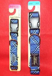Sport It Legacy Collection Adjustable Dog Collars Blue Sizes M amp; L NEW $9.98