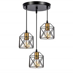 WADSN 3 Light Industrial Rustic Vintage Farmhouse Metal Caged Pendant Modern for $61.86