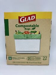 Glad 2.6 Gallon Small Kitchen Flat Top Compostable Bags 22 Bags $11.24
