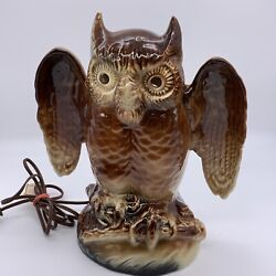 VINTAGE LAMP OWL POTTERY MADE BY KRON RARE COLLECTIBLE $75.00