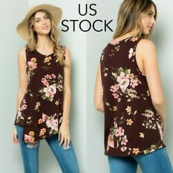 Women Floral Sleeveless Top with Asymmetrical Hem Made in USA $13.99