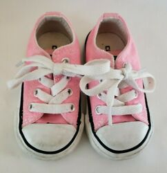 Converse All Star Toddler Size 4 Pink White Lace Sneakers Shoes Baby Girl Low $14.99