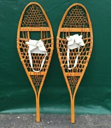VERY NICE Vintage SNOWSHOES 42x12 Snow Shoes w LEATHER BINDINGS PATINA $98.49
