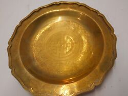 Vintage Brass 10quot; Engraved Etched Chinese Dish Plate $24.00
