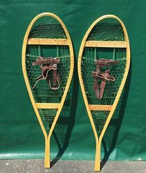EXCELLENT Never Used SNOWSHOES 42x12 w Leather Bindings SNOW SHOES $62.49
