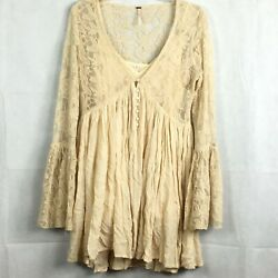 Free People Womens Ivory With Love From India Mini Dress Sz S 2Pc Lace Boho $35.00