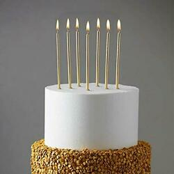 24 Count Party Long Thin Cake Candles Metallic Birthday Candles in Holders fo... $13.51