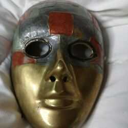 Vintage Brass Facemask Wall Decor 8 inch Made in India $15.95