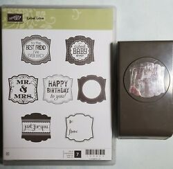 Stampin Up LABEL LOVE amp; Coordinating PUNCH Retired Birthday Baby Friend $19.95