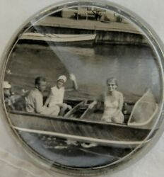 Antique Vintage Glass Handmade Paperweight Old Time Photo Boating Family $17.87
