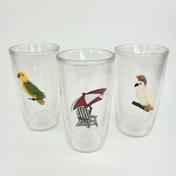 Tervis Tumbler Set Of 3 Birds Beach Insulated Cups 16 oz Clear Plastic $24.95