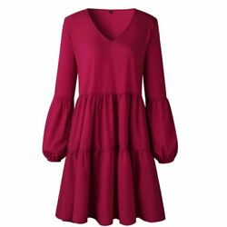 Summer Party Women#x27;s Ladies Dresses Blouse Loose Dress Solid Evening Long Sleeve $19.74