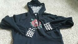 Vans Off The Wall Black Hoodie Size Small Cropped Pre Owned $15.99