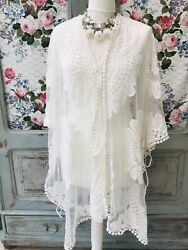 Gorgeous Paisley Lace Beach Cover Up One Size White GBP 9.99