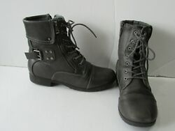 GLOBALWIN Womens SIZE 9.5 Grey Combat Ankle Boots $13.49