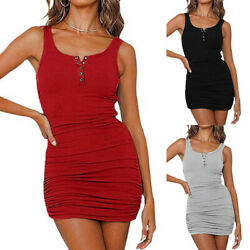 Women Sexy Bodycon Stretch Sleeveless Dress Cocktail Party Club Jumpers Dress $17.49